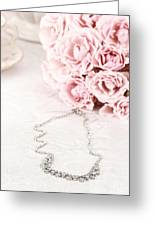 Diamond Necklace And Pink Roses Greeting Card