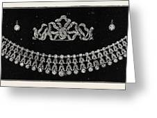 Diamond Tiara, Necklace, And Ear Rings Presented Greeting Card