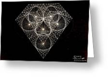 Diamond White And Black Greeting Card