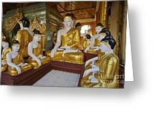 different sitting Buddhas in a circle in SHWEDAGON PAGODA Greeting Card