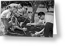 Digging Worms For Fishing Greeting Card