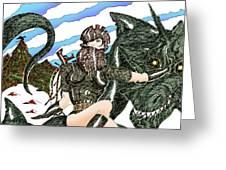 Digital Dragon Rider Colour Version Greeting Card