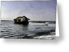 Digital Oil Painting - A Houseboat Moving Placidly Through A Coastal Lagoon Greeting Card