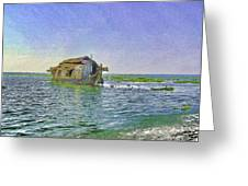 Digital Oil Painting - A Houseboat Moving Placidly Through A Coastal Lagoon In Alleppey Greeting Card