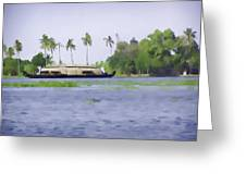Digital Oil Painting - A Houseboat On Its Quiet Sojourn Through The Backwaters Of Allep Greeting Card