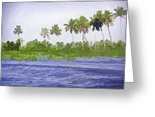 Digital Oil Painting - Water Rippling In The Coastal Lagoon Greeting Card