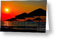 Digital Painting Of Beach Umbrellas At Sunset Greeting Card