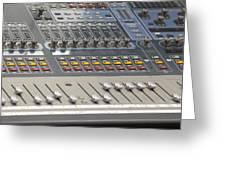 Digital Sound Mixing Console Closeup Greeting Card