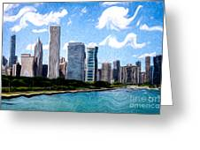 Digitial Painting Of Downtown Chicago Skyline Greeting Card by Paul Velgos