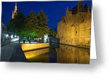 Dijver Canal At Night  Greeting Card