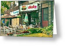 Dilallo Burger Diner Paintings Originalclassic Vintage Burger Joint St Henri St Catherine Cityscene  Greeting Card