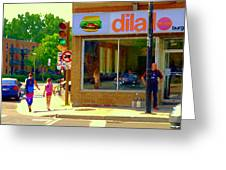 Dilallo Notre Dame Ouest And Charlevoix Sunny Street Montreal Urban City Scene Carole Spandau Greeting Card