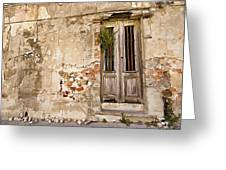 Dilapidated Brown Wood Door Of Portugal II Greeting Card by David Letts