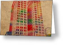 Dime Building Iconic Buildings Of Detroit Watercolor On Worn Canvas Series Number 1 Greeting Card