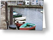 Dinghies Wait At The Pier Greeting Card