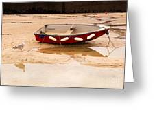 Dinghy At Low Tide In St Ives Cornwall Greeting Card