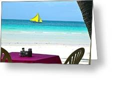 Dining At White Beach Greeting Card