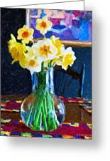 Dining With Daffodils Greeting Card by Jo-Anne Gazo-McKim