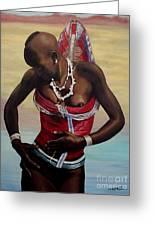 Dinka Girl In Beaded Wrap 2 Greeting Card