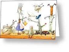 Dinner Accident Greeting Card by Kestutis Kasparavicius