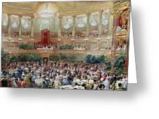 Dinner In The Salle Des Spectacles At Versailles Greeting Card