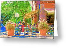 Dinner On The Terrace Le Murphy Boire Et Manger French Bistro Montreal Cafe Street Scene Greeting Card