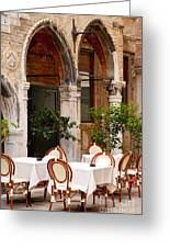 Dinner Tables In Venice Greeting Card