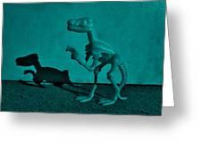Dino Dark Turquoise Greeting Card