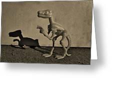Dino Sepia Dark Greeting Card