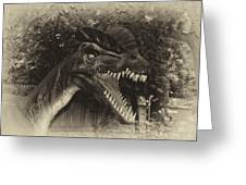 Dino's At The Zoo Come Here Cameraman In Heirloom Finish Greeting Card
