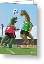 Dinosaur Football Sport Game Greeting Card by Martin Davey