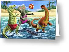 dinosaur fun playing Volleyball on a beach vacation Greeting Card