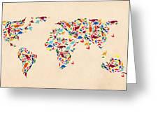 Dinosaur Map Of The World  Greeting Card