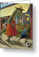 Dinosaur Mum Out Shopping With Son Greeting Card