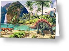 Dinosaur Volcanos Greeting Card