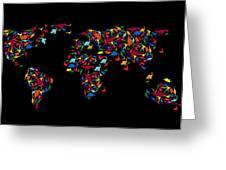 Dinosaurs Map Of The World   Greeting Card by Mark Ashkenazi