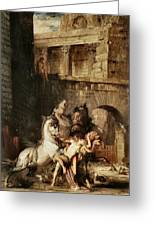 Diomedes Devoured By His Horses Greeting Card