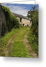 Dirt Path To Stone Building Greeting Card