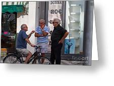 Discussing It In Maiori Italy Greeting Card
