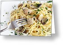 Dish Of Spaghetti With Clams Greeting Card