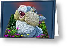 Disney Floral 05 Thumper Blue Greeting Card