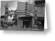 Disneyland Downtown Disney Signage 03 Bw Greeting Card