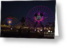 Disneyland Ferris Wheel At Dark Greeting Card