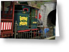 Disneyland Rr Oiling Green Engine 3 Greeting Card
