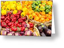 Display Of Fresh Vegetables At The Market Greeting Card