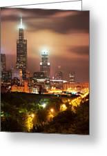 Distant Lights - Chicago Illinois Skyline Greeting Card