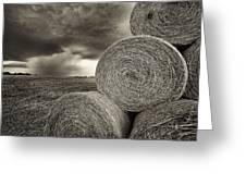 Distant Thunderstorm Approaches Hay Bales E90 Greeting Card
