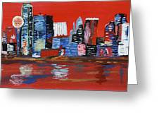 Distorted Dallas Skyline Greeting Card