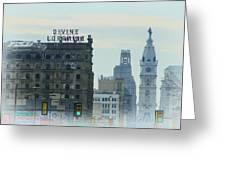 Divine Lorraine And City Hall - Philadelphia Greeting Card