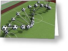 Dna String Of Soccer Player On The Field Of Stadium Greeting Card